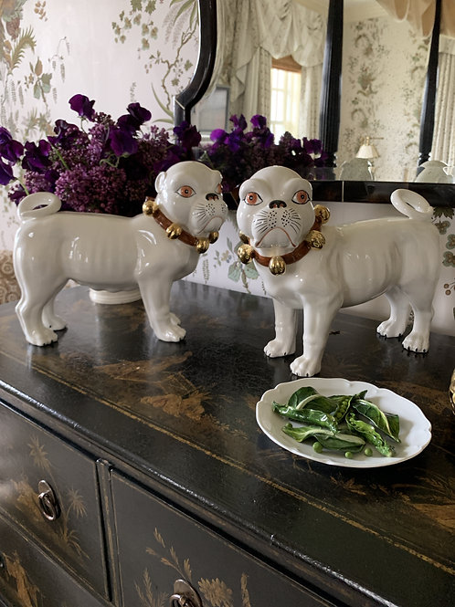 Bull Dogs Pair in Porcelain
