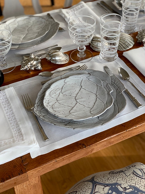 White Artichoke Dessert Plates by Vista Alegre