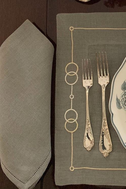 Gray Hemstitched Napkin-100% linen