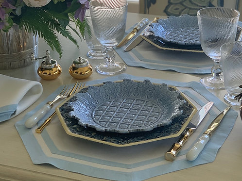 Light Blue and White Placemat and Napkin Set