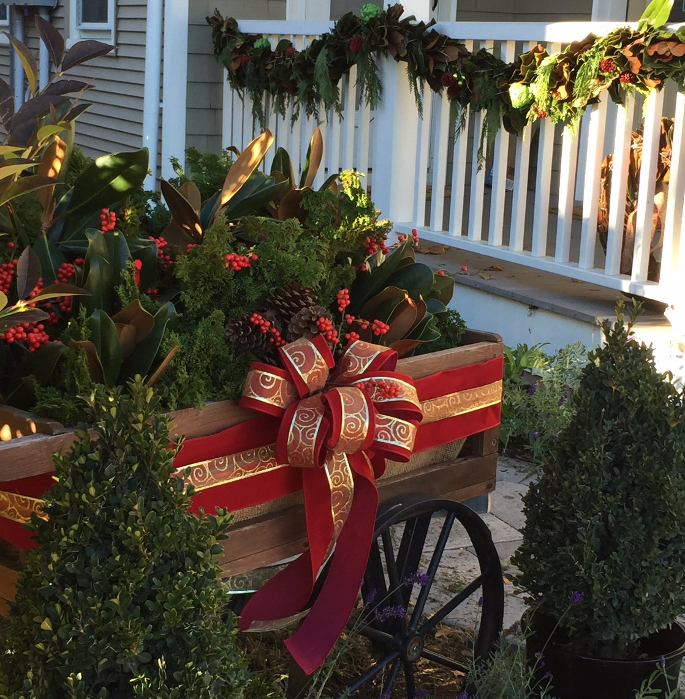 Wagon with winter greenery