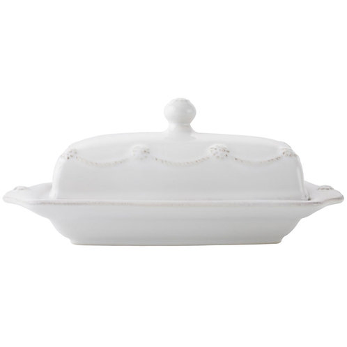 Berry and Thread Whitewash Butter Dish