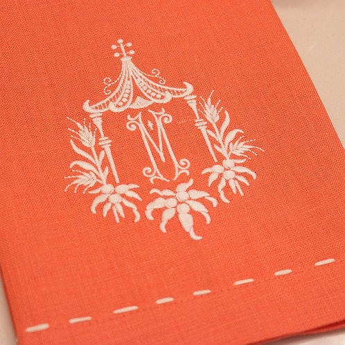 Linen Napkin with Pagoda Monogram, by Julian Mejia