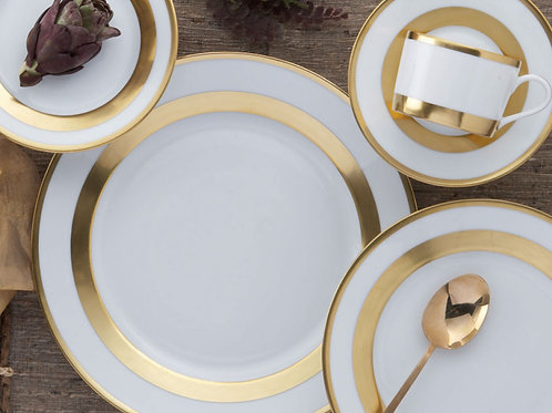 """Mottahedeh """"William"""" Gold 5 Place Setting"""