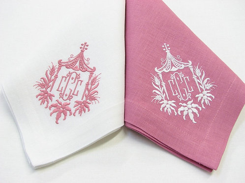 Monogrammed Napkins - Pink & White, by Julian Meija