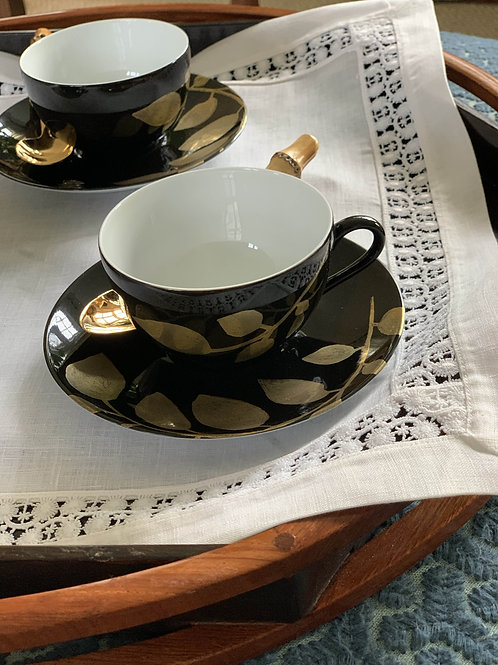 Black and Gold Daphne Cup and Saucer