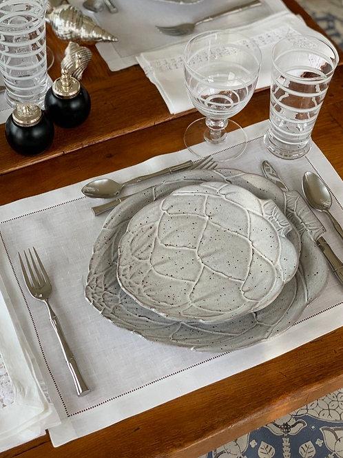 White Artichoke Dinner Plates by Vista Alegre