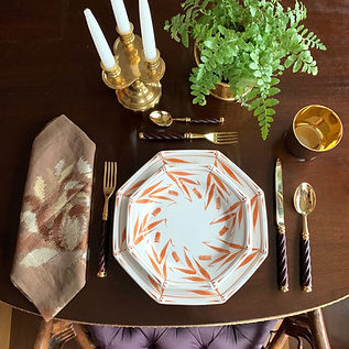 Orange-and-white-Bamboo-plates-w-Gold-Cu