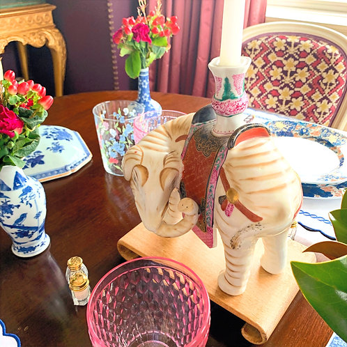 Porcelain Elephant Candlesticks