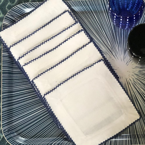 Cocktail Napkins Blue and White- Set of 4