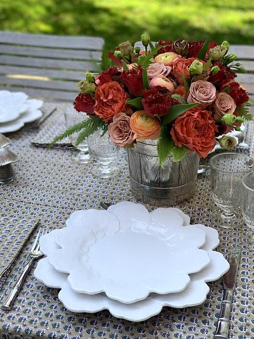 Geranium White Dinner Plate- Set of 4