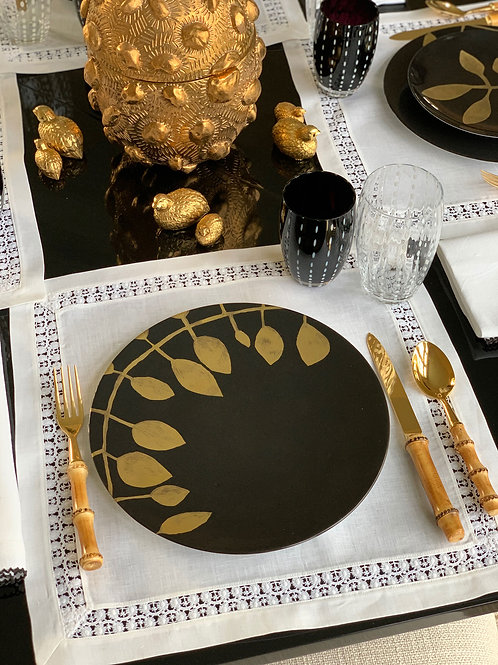 Black & Gold Daphne Plates
