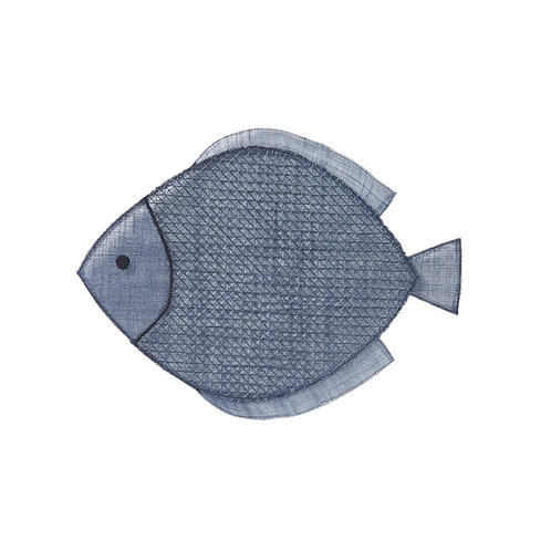 Navy Blue Fish Placemat