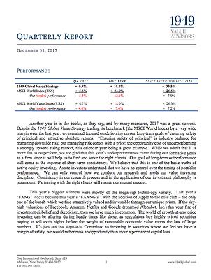 Quarterly Report 1949 Value Advisors
