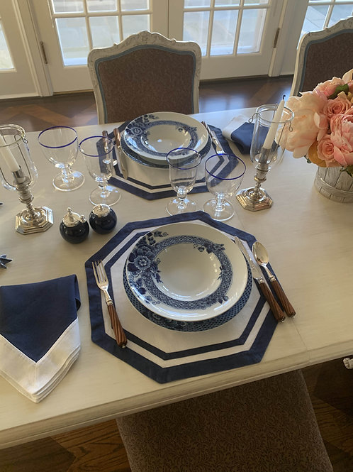 Octagonal Placemat and Navy Napkin