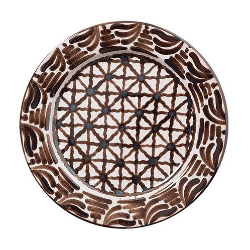 Criss-Cross Brown Ceramic Dinnerplate