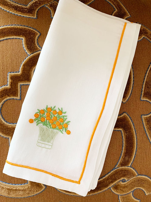 White Linen Napkins with Orange Embroidery - Set of 4