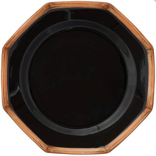 Black Bamboo Salad Plate