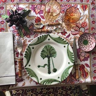 Green Palm Tree Dinner Plate Everyday Elegance