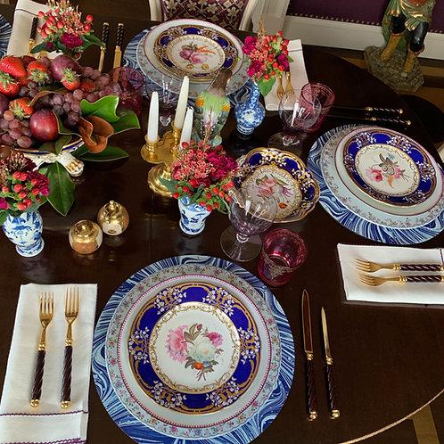 English Porcelain Dessert Plate Set