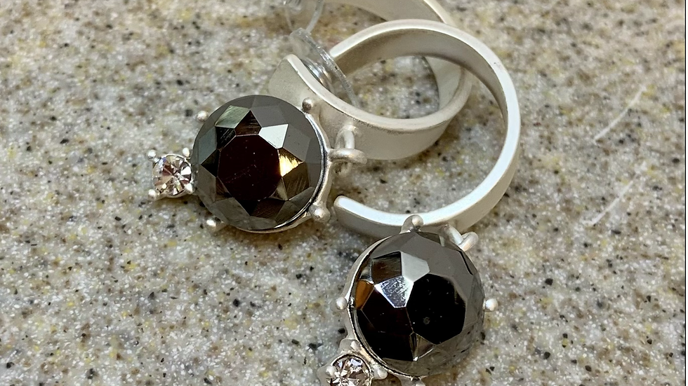 Black Diamond look Gemstone Hoop Earrings