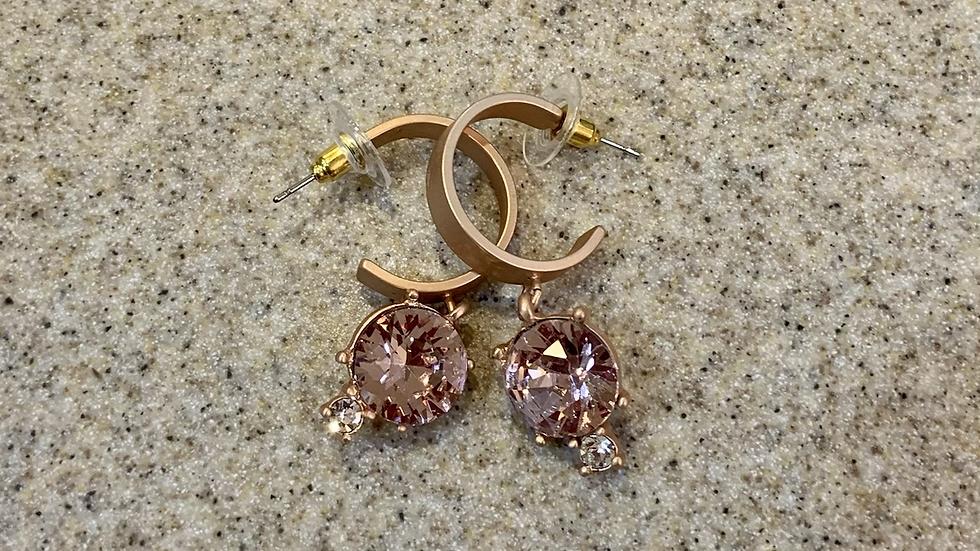 Pink Gemstone Hoop Earrings