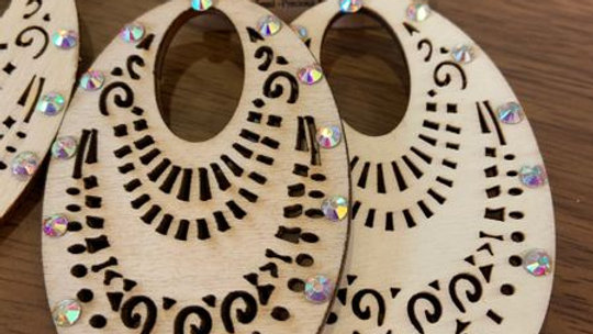 Light Brown Wooden and Crystal Earrings