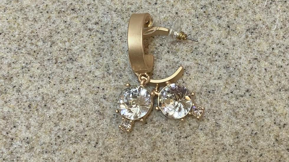 Clear Gemstone Hoop Earrings