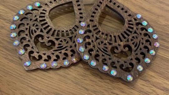 Dark Brown Wooden and Crystal Earrings