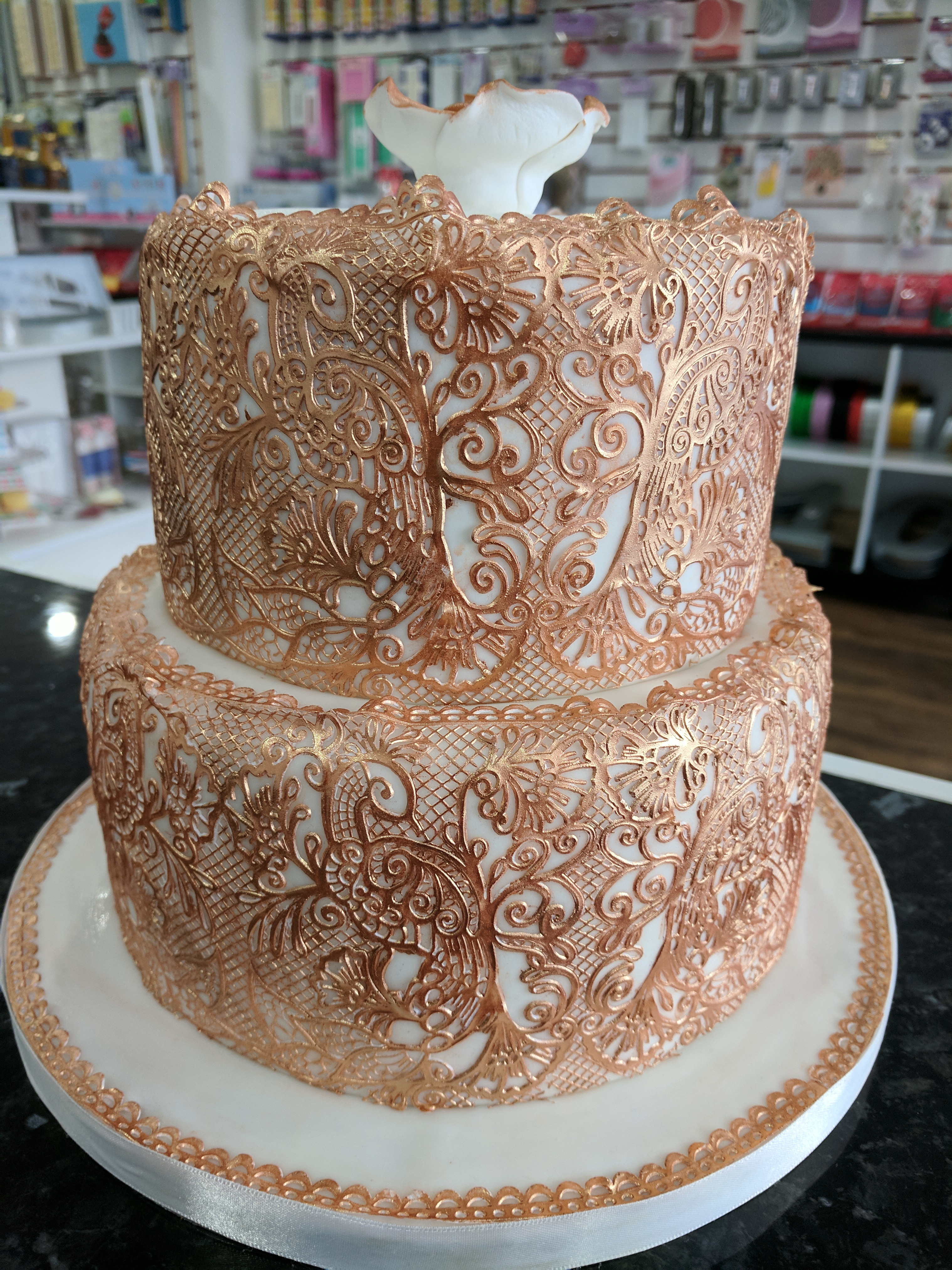 Rose Gold Lace Wedding Cake