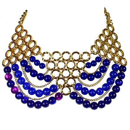 Blue Beaded Gold Triangle Plate Necklace