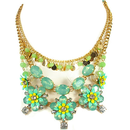 Green Flowered Crystal Petals Fashion Necklace - Model: 445 JHN1887