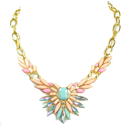 Coral Pink Turqoise Feathered Gold Chain Necklace - Model: 168 S2688