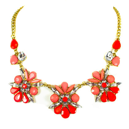 Crystaled Coral Pink Summer Fashion Necklace - Model: 299 UNE7012