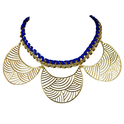 Blue and Gold Crescent Necklace