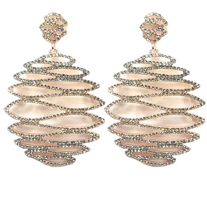 Rose Gold Crystaled Earrings - TROY 5231