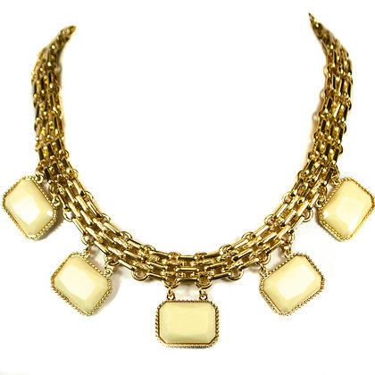 Cream White Stoned Gold Chained Necklace - Model: 338 MS1970