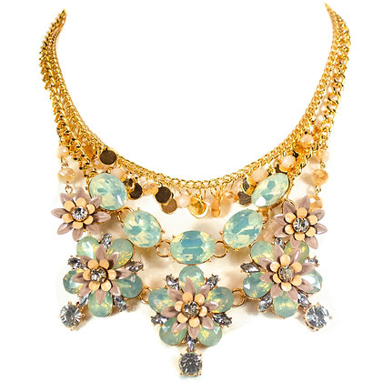 Light Blue Flowered Crystal Petals Fashion Necklace - Model: 445 JHN1887