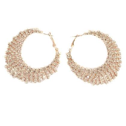 Rhinestoned Rose Gold Hoop Earrings - TROY 5448