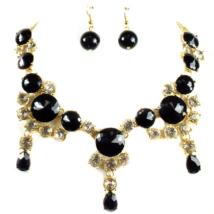 Round Stoned Black Gold Crystal Necklace Set - Model: 168 S2256
