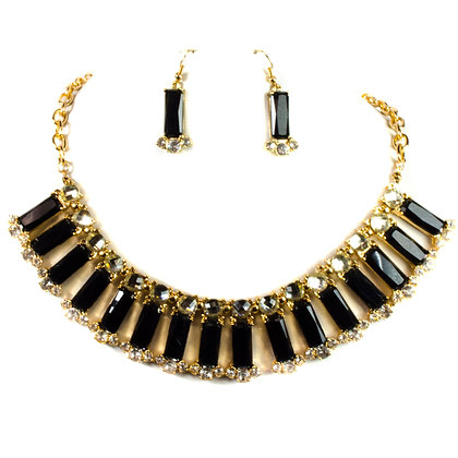 Black Stoned Necklace Set - Model: 206 YNE1256