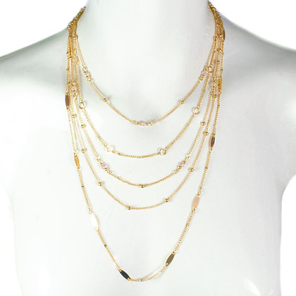 Pink Beaded Gold Chain Necklace - ASD 353