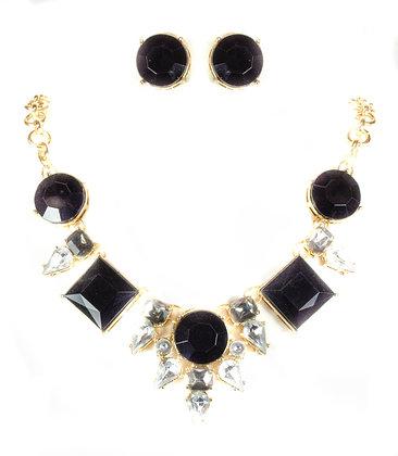 Black Stoned Crystal Necklace Set - Model: 257 13623