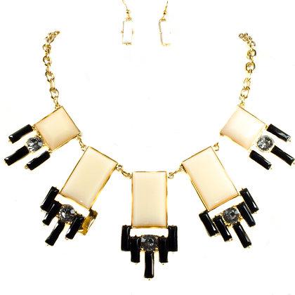White Gold Black Rectangular Necklace Set - Model: 168 S2967