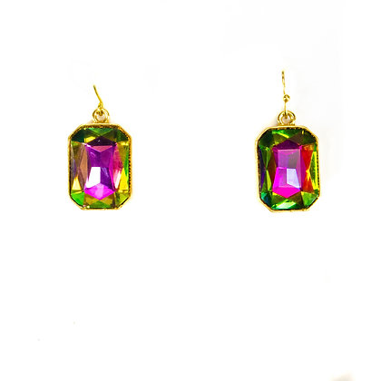Green and Pink Coloured Crystal Earrings - Model: 100 1234
