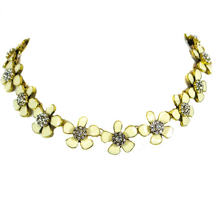 Cream White Flowers with Crystal Petals Fashion Necklace - Model: TROY 100CG