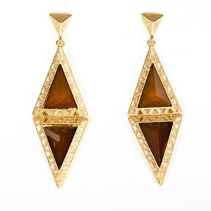 Brown and Gold Quad Earrings - Model: 2 SUE7780