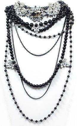 Black Floral Choker - Model: 340-N79938