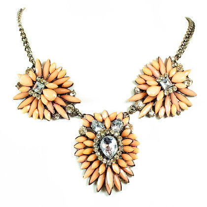 Coral Stoned Crystal Necklace - Model: TD 6225