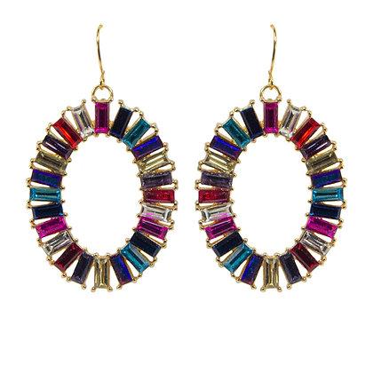 Multi Colored Stone Hoop Earrings